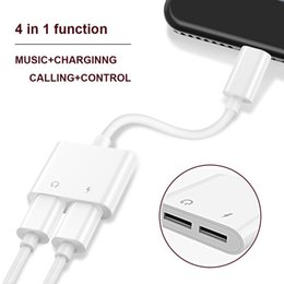 Wholesale Iphone Audio Adapter Cable - 2 in 1 Dual For Headphone Audio Charger Adapter Connectors Cable For iPhone 7 8 X Plus Charging Music 30pcs