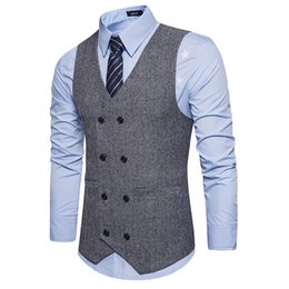 Wholesale mens gray blazers - Brown Double Breasted Vest Suit Mens Vests Striped Slim Fit Waistcoat British Vintage Blazer Sleeveless Jacket S-XXL