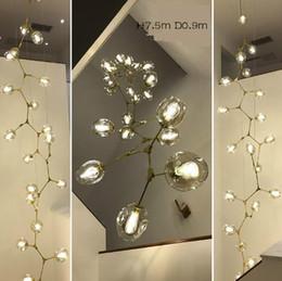 vaso redondo de 24 pulgadas Rebajas Regron Nordic Chandelier Lights Led Glass Chandeliers Leuchter Modern Luxury Minimalism Natural Lámpara de suspensión Luminarias Escalera