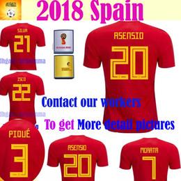 Wholesale Espana Jersey - 2018 Spain MORATA ASENSIO ESPANA Spain red home soccer jerseys Top quality RAMOS A.INIESTA ISCO PIQUE football shirts -wholesale