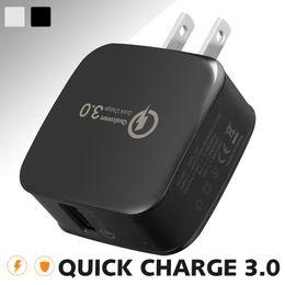 Профессиональная сумка онлайн-Быстрая зарядка Адаптер QC 3.0 Зарядное устройство 5V / 2.4A USB Plug Домашний адаптер для путешествий для Huawei P20 PRO iPhone X Galaxy S9 Plus с OPP Bag