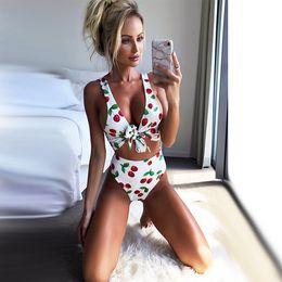 70a2322aad8 2018 Summer 2PCS Cute Cherry Women Girls Vintage High Waist Bandage Bikini  Set Push-up Bra Swimsuit Swimwear