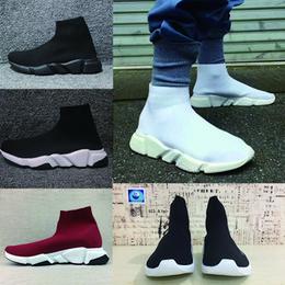 2019 botas de malha sapatos Balenciaga Sock shoes Luxury Brand velocidade Meias Stretch-Knit High Top Sapatos Trainer Barato Sneaker Preto Branco Mulher Casais Casuais Sapatos Casuais sem caixa botas de malha sapatos barato