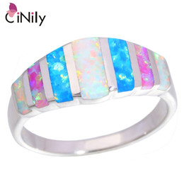 Wholesale Copper Fire Ring - CiNily Created Pink Blue White Fire Opal Silver Plated HOT SELL Wholesale Retail for Women Jewelry Ring Size 5-13 OJ5449