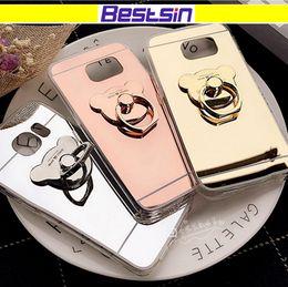 Wholesale shining tpu case - Electroplating Cartoon Bear Shining HD Mirror Reflection Phone Case Ring Holder Kickstand Rose Gold Free DHL Shipping