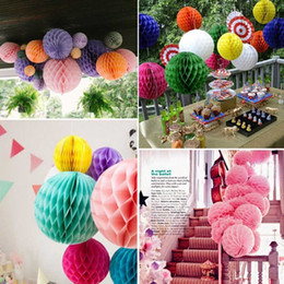 Wholesale lighting for paper lanterns - Round Paper Honeycomb Ball With Tissue Flower Chinese Lantern For Wedding Kid Birthday Party Decorations Supplies Many Colors 2 5xh BZ