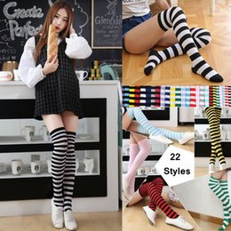 765e522fd256c 22 Style Student Over Knee Thigh Long Tube Socks Girl Stripes Stocking  Women Sexy Socks Christmas Socks Party Supplies 60pcs AAA943 on sale
