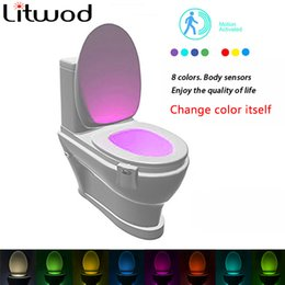 Wholesale Christmas Tree Night Lights - Z50 Litwod Sensor Toilet Light LED Lamp Human Motion Activated PIR 8 Colours Automatic RGB Night lighting Kid gift
