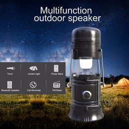 Wholesale solar mp3 player - Multifunction Portable Outdoor Wireless Bluetooth Speaker LED Camping Lantern Solar Collapsible Light for Camping Hiking flashlight FM Radio