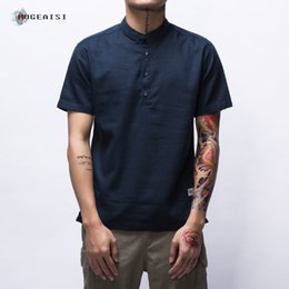 Wholesale Chinese Cotton Dresses - Mens Short Sleeve Shirt Straight Casual Pure Color Chinese Style Blouse Thin Linen T-shirt Summer Youth Fashion