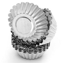 Wholesale Free Shipping New Egg - Azerin 10pcs Egg Tart Aluminum Cupcake Cake Cookie Mould Pudding Mould Baking Tool New Free Shipping #698