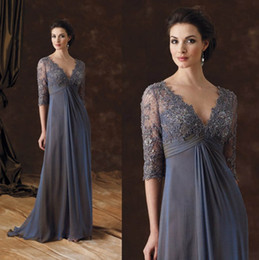 Wholesale plus size empire waist - Chic Plus Size Mother Of The Bride Dresses Half Sleeves A-Line V-Neck Empire Waist Mother Of Groom Dress Floor-Length Chiffon Evening Gowns