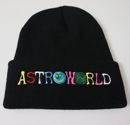 Astroworld Gestrickte Schädel Caps 8 Farben Kanye West Mode Hüte Hip Hop Brief Bestickte Mütze Unisex Winter Caps von Fabrikanten