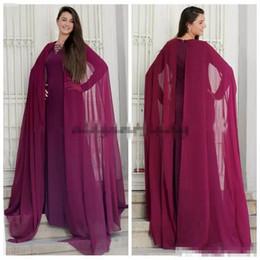 Wholesale Light Hood - 2017 Dubai Arabic Prom Dresses with Long Chiffon Hood Cape Kaftan Dubai Muslim Formal Gowns Sleeves Evening Wear Party Formal Wear