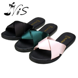 Wholesale New Designs Ladies Sandals - NIS Women Summer Sexy Mules, Black Green Pink Stain Bowknot Slippers, Ladies New Design Sandals, Indoors Outdoors Zapatos Mujer