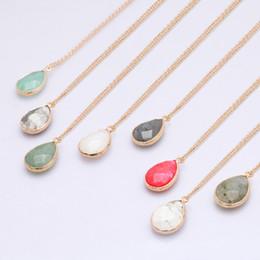 Piedras de ágata online-Collar de piedra Gargantilla larga Collar Suéter Cristal de ágata facetada Collar de piedra natural