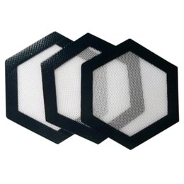 Quality FDA food grade reusable non stick concentrate bho wax slick oil Hexagon shape heat resistant fibreglass silicone dab pad mat