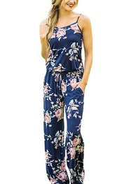 Ceinture de combinaison en Ligne-Femmes ceinture d'impression Strap Floral Romper Jumpsuit tempérament sans manches Beach Playsuit Boho Summer Jumpsuit Pantalon Long