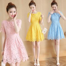 Wholesale Korean Slim Skirt - KJ161 Korean Summer New Women's Fashion Slim Short-Sleeved Skirts Female Mid Waist Lace Shirts Robe De Femme