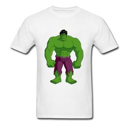 Wholesale Hulk T Shirts - Green Super Man Top T-Shirts Big Muscle Hulk T Shirt Men Awesome Tshirt XXXL USA Size 100% Organic Cotton No Button Summer