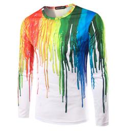 Novos manga longa camiseta on-line-Homem Tshirt Espirrando tinta Design new arrival moda casual o pescoço manga comprida slim fit para o homem t camisas frete grátis t203
