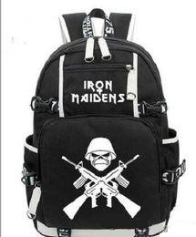 Wholesale rock band sale - HOT-sale Iron Maiden Metallica Heavy Metal Rock Band backpack Men Wome shoulder travel bag Teenage Girl Backpacks boy Laptop Bag