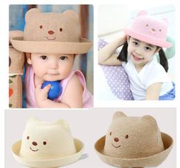 Wholesale straw hats luffy - Cute Bear Kids Summer Panama Hats Colorful Girls Luffy Straw Hat Anti-Sunshine Straw Hat Outdoor Beach Lovely Round Baby Sun Hat TO601