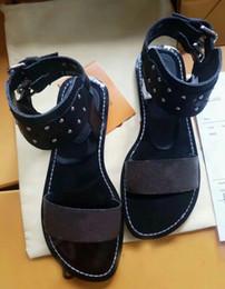 Wholesale Lace Sandals Flat - 2018 brand women rivet sandals shoes Female fashion sandals flats sapatos femininos zapatos mujer chaussure femme sapato feminino sandalias