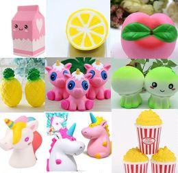 Wholesale lemon toy - 2018 new style Squishy toys Strawberry Perfume Cream milk lemon peach Pineapple unicorn jellyfish popcorn Jumbo Decor Slow Rising Squishies