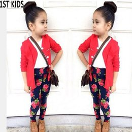 Wholesale Girl Rose Coat - 2018 Baby girls clothes sets Spring cotton Children girls Clothing kids clothes suit coat + shirt+Rose flower pants 3 pcsDT0257