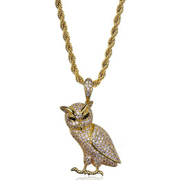 Wholesale 14k Owl - Hip Hop Iced Out Gold ans Silver Plated Micro Pave Cz Stone Animal Owl Pendants Necklace Gift for Women
