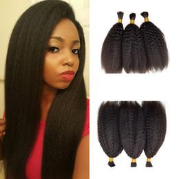 Productos para el cabello de las mujeres negras online-Productos más vendidos Kinky Straight 3bundles Cabello a granel para mujeres negras 8-26 pulgadas Cabello humano negro natural FDSHINE HAIR
