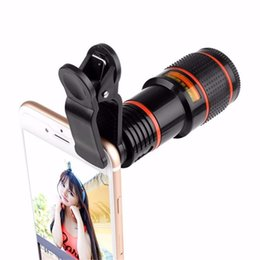 Wholesale Mobile Phones Telescope Camera 12x - NEW Arrival 12X Zoom Optical Phone Telescope Portable Mobile Phone Telephoto Camera Lens and Clip for sighseeing watch game Retail Package