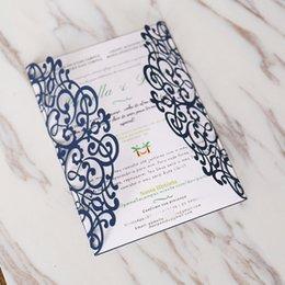 Laser Cut Invitation De Mariage Carte Invitations Bleu Marine Pour Le Mariage De Fiançailles De Fête D'anniversaire Favors Livraison Gratuite ? partir de fabricateur