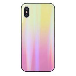 2019 protector colorido templado del vidrio del iphone Vidrio templado espejo colorido cubierta protectora del teléfono de nuevo caso para el iPhone Xs Max Xr 6 7 8 más X rebajas protector colorido templado del vidrio del iphone
