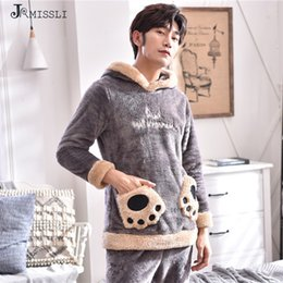 7a40f82e6d JRMISSLI Flannel Mens Sleepwear Cartoon Men Pajamas Set Thick Winter Male Pajamas  Warm Velvet Long Sleeve Soft Pyjamas Men