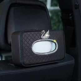 Voiture couverte de diamants en Ligne-Swan Car Back Seat Boîte De Tissu En Cuir Cristal Strass Tour De Papier Hanging Boîtes De Rangement Diamant Auto Porte-Housse De Tissu
