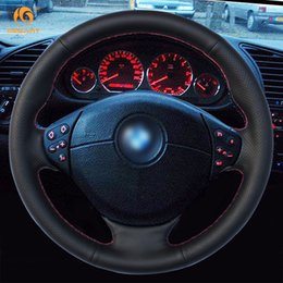 Wholesale E36 Wheels - MEWANT Black Artificial Leather Car Steering Wheel Cover for BMW E39 5 Series 1999-2003 E46 3 Series 1999-2005 E53 X5 E36 Z3