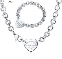 Wholesale Silver Box Chain Bracelet - Free Shipping 2018 Hot Tiff925 Silver fashion jewelry necklace and bracelet original packaging gift boxes A42 Set