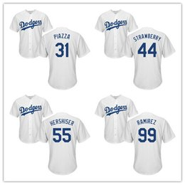 Wholesale Darryl Strawberry - Retired Player Baseball Jersey Stitched White Gray Blue 60th Patch #31 Mike Piazza 44 Darryl Strawberry 55 Orel Hershiser 99 Manny Ramirez