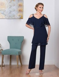 Wholesale Cheap Purple Suits - 2018 Navy Blue Mother Of Bride Pant Suits Two Piece Chiffon Mother Of The Bride V Neck Cheap Plus Size Mother's Wear