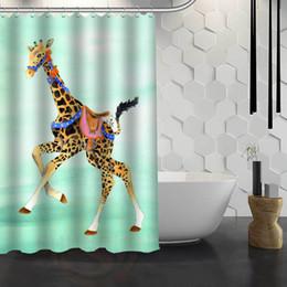 giraffe fabrics Canada - Hot Sale Custom Giraffe Custom Shower Curtain Waterproof Fabric Bath Curtain for Bathroom F#Y1-17