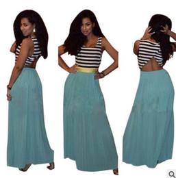 Wholesale Woman Hot Bare - Summer women dress Hot-selling sexy stripe stitching solid long skirt U-collar sleeveless bare back chiffon dress