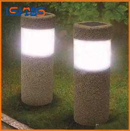 Wholesale Garden Solar Stone - Solar Power Stone Pillar W hite LED Solar Lights Outdoor Garden Light Lawn Lamp Court yard Decoration Lamp 5W