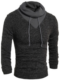 Wholesale Mens Thin Turtleneck - New Spring Mens Pullover Sweaters Fashion Heap Collar Stitching Long Sleeves Lining Mens Turtleneck Tops Sweater