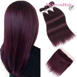 Trames de cheveux bourgogne en Ligne-Droite Ombre Bourgogne Malaisien Vierge Cheveux Faisceaux 3pcs Avec 13x4Inch Dentelle Frontale Bourgogne rouge Péruvien Indien Remy Cheveux Trames