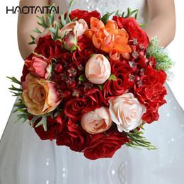 rose rosse rosse Sconti Bouquet di rose rosse di Charme Bouquet da sposa Raso di cristallo Bouquet da sposa Bouquet da sposa Bouquet da sposa