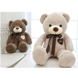 Wholesale Large Plush Bears - 80cm 100cm large teddy bear plush toy cute huge stuffed soft bear wear bowknot kids toy birthday gift for girlfriend