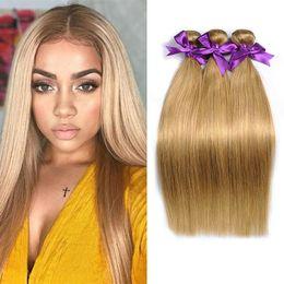 Wholesale honey blonde hair weave - New Arrive Brazilian Honey Blonde Hair Bundles #27 Colored Straight Human Hair Extension Unprocessed Brazilian Virgin Hair Weaves