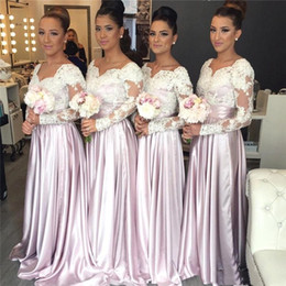 Wholesale top designs long gowns - 2018 New Design Long Sleeves Bridesmaid Dresses White Lace Applique Top Vintage Winter Church Maid of Honor Wedding Guest party Gowns